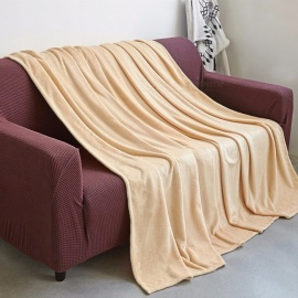 100*140cm Luxury Flannel Fleece Blanket, Cozy Plush Microfiber Solid Blanket For Home Light Yellow/100*120cm