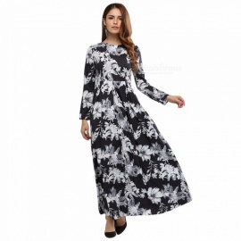 Womens Round Neck Full Sleeve Floral Print Dress, Flowing Vintage-style Print Dress For Women Multi/S