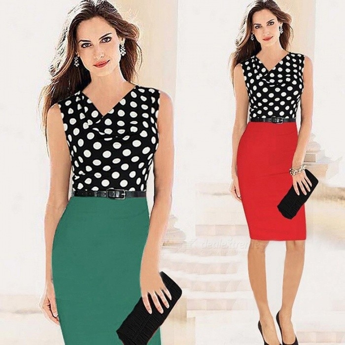 Fashion Black Dot Print Patchwork Sleeveless Slim Pencil Dress For Office Lady Women Green/S