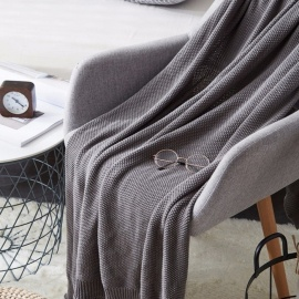 85*140cm Textured Knit Blanket Throw,Luxury Solid Soft Decorative Knitted Blanket For Sofa And Couch Dark Grey/Other