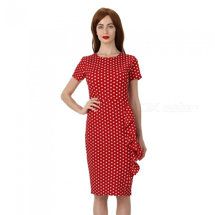 Womens Round Neck Short-sleeved Dotted Above-the-knee Dress, Slim Fit Dotted Dress With Side Ruffles For Women Red/S