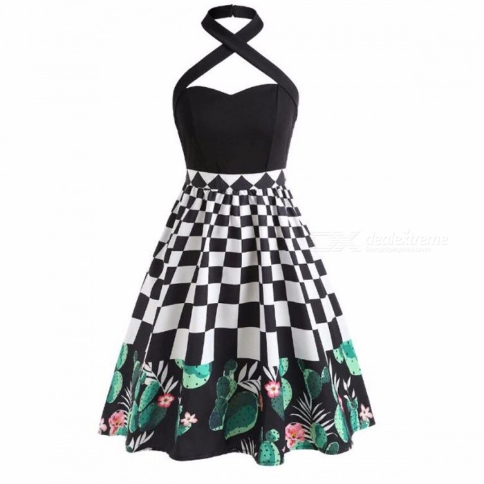 Womens Summer High-rise Slim Fit Plaid Halter, Check Patchwork Halter Dress For Women Black/S
