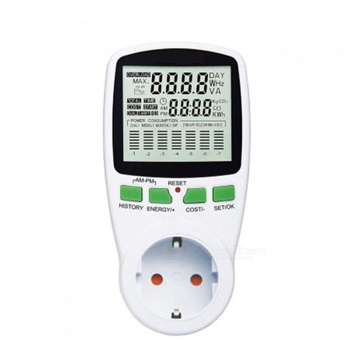 AC Power Meter, 220V Digital Wattmeter EU Energy Meter, Watt Monitor Electricity Cost Diagram Measuring Socket Analyzer White