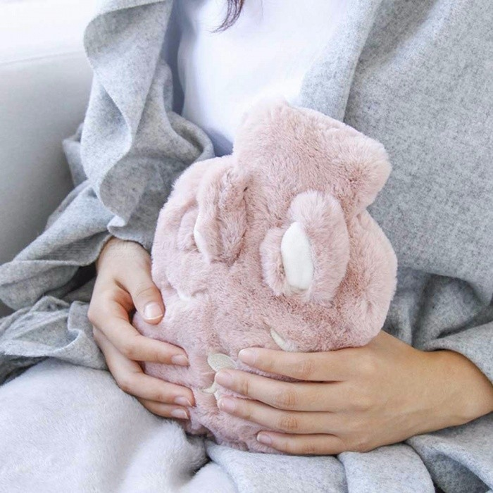 Portable 1000ML Rabbit Hot Water Bottle, Creative Cartoon Hot Water Bottle With Faux Fur Cover Pink