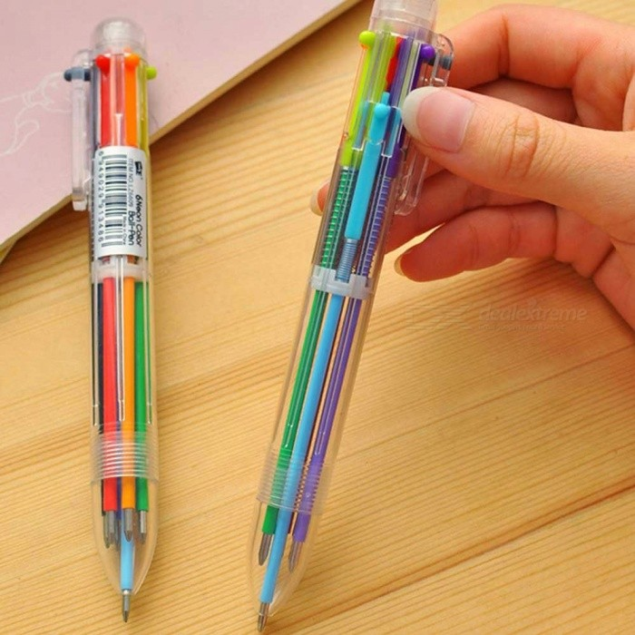 Novelty Multicolor Ballpoint Pen, Multifunctional 6-in-1 Colorful Stationery Ball Pen Creative School Supplies Multi-Colored/Clear
