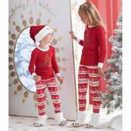 Christmas Printing Design Family Matching Clothes Outfits Set For Children Kids Red/24M