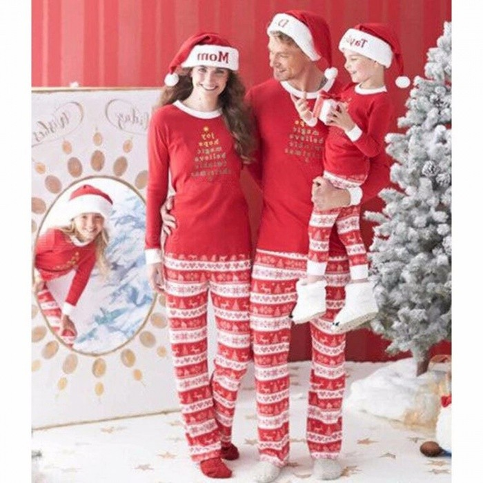Christmas Printing Design Family Matching Clothes Outfits, 2-Piece Homewear Set For Father And Mother Red/Mother S