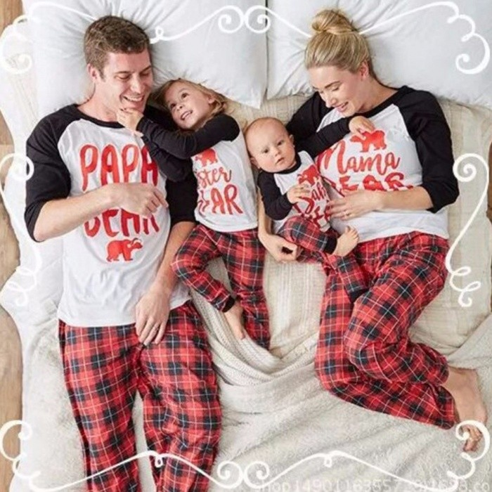 Family Look Letter Plaid Print Christmas 2-Piece Pajamas Homewear Set, Family Matching Clothes Outfits For Children Kids Multi/9M