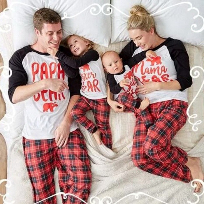 Family Look Letter Plaid Print Christmas 2-Piece Pajamas Homewear Set, Family Matching Outfits For Father And Mother Multi/Father XL