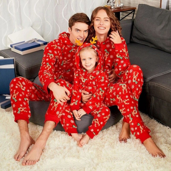 Christmas Pajamas Set Romper Jumpsuit, Elk Print Xmas Sleepwear, Hooded Zipper Family Matching Outfits For Father Mother Red/Father XL