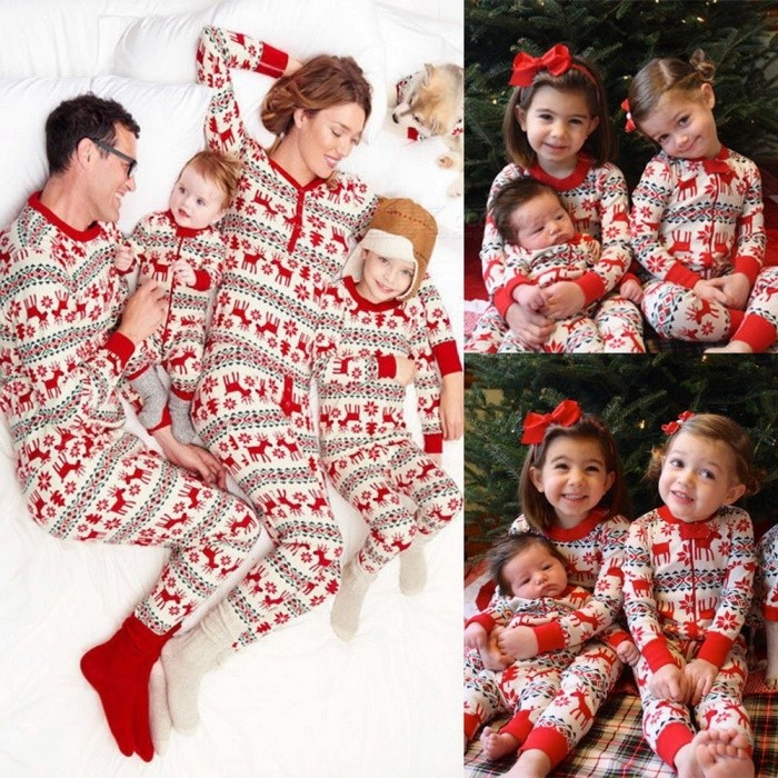 2-Piece Family Pajamas Set, Elk Deer Print Christmas Family Matching Outfits Nightwear Set For Baby And Kids Red/3M