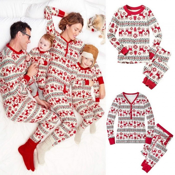 2-Piece Family Pajamas Set, Elk Deer Print Christmas Family Matching Outfits Nightwear Set For Father And Mother Red/Mother S