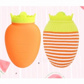 Mini Cartoon Creative Carrot Shape Silicone Hot Water Bottle Bag, Heatproof Warm Relaxing Heat Cold Bottle Cute Gift Orange