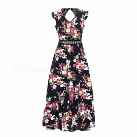 Spring Summer Sweet Flower Print V Neck Sleeveless Backless Dress For Girls Women Black/S