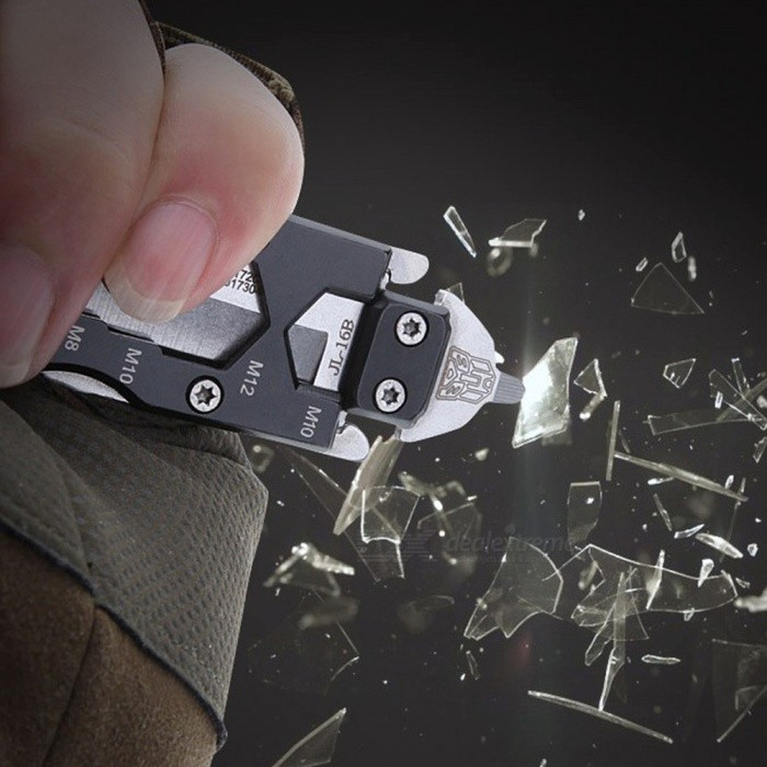 Creative Mini Outdoor Multi Tool / Pocket Straight Knife With Keyring Design Silver