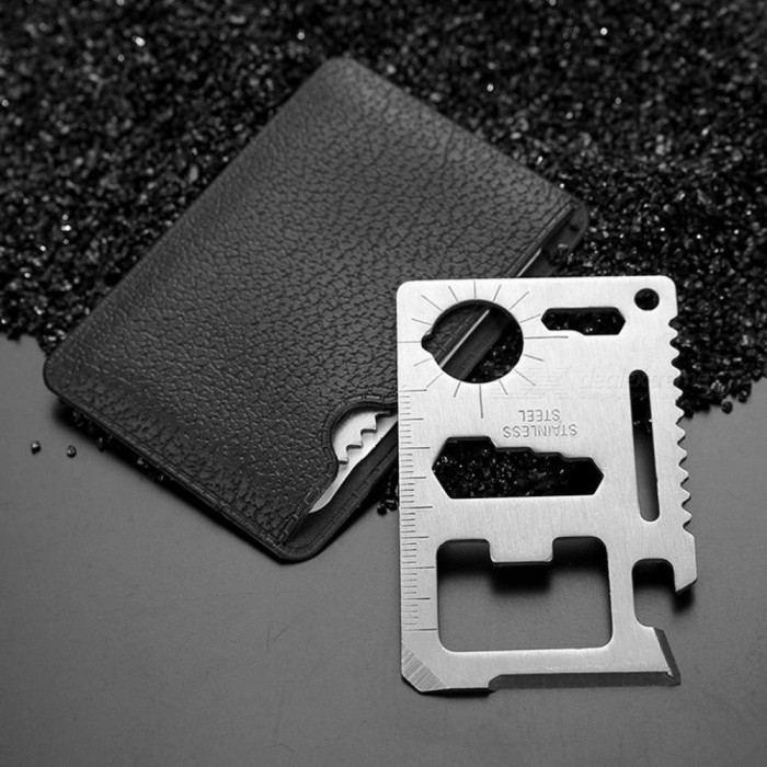 Portable Mini Pocket Card Knife Multi-Tool For Outdoor Survival / Self-Defense Silver