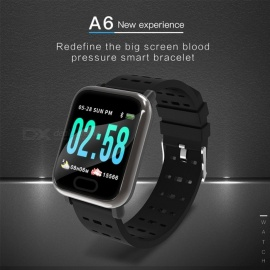 A6 Color LCD Screen Smart Bracelet Wristband Watch With Hear Rate Monitor / Sports Mode Function Black