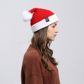 Winter Christmas Santa Claus Hat, Warm Knitted Beanies Cap Gift For Women Girls Red