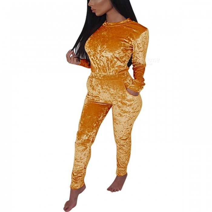 Europe And America Fashion Women\'s Sport Long Sleeve Top Velvet Pullovers Trousers Set Gold/S