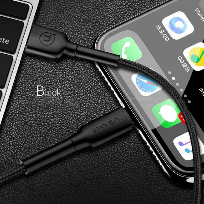 USAMS Lightning Cable USB Charging Weave Reinforce Mobile Phone Cables 2A For IPhone Black