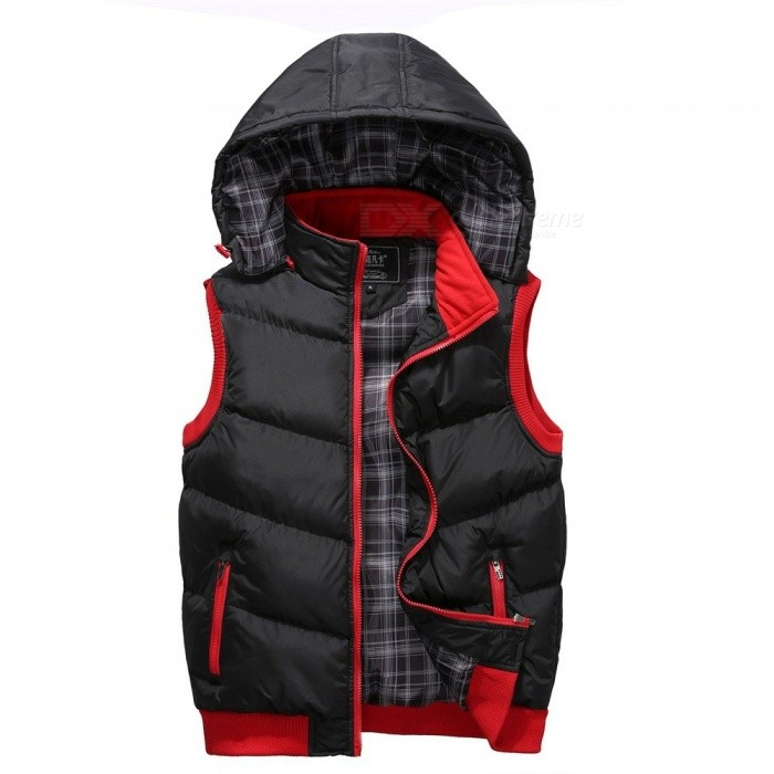 Autumn Winter Mandarin Collar Hooded Down Vest Removable Hat Thicken Winter Warm Jackets Unisex Black/M