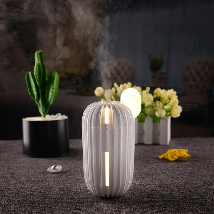 200ml Creative Cactus USB Ultrasonic Humidifier Air Purifier USB Night Light Mini Portable Office Household Mist Maker White