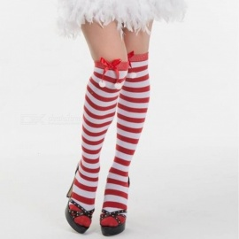 Women Girls Christmas Knee Socks Thigh High Long Striped Stockings Tube Cotton Socks Bow Decoration Red/One Size