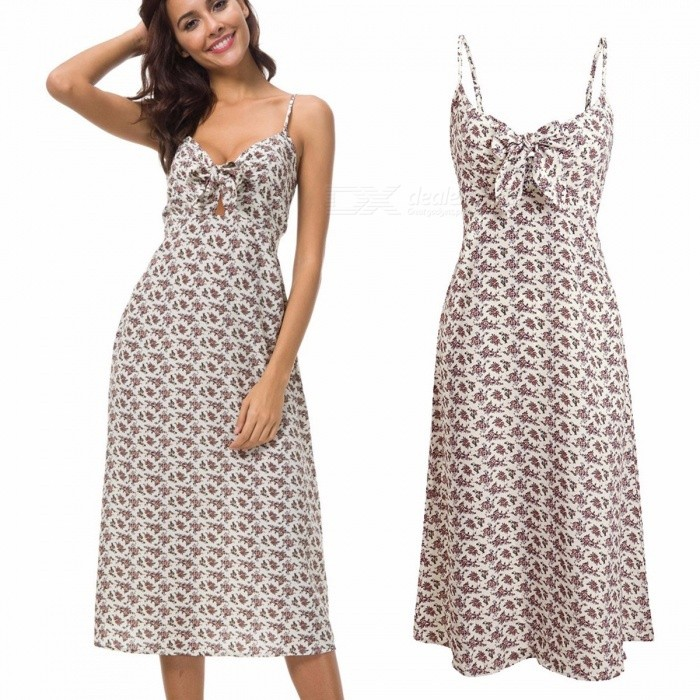 Europe And America Summer Dress Spaghetti Strap Sleeveless Print Long Dresses For Women White/S