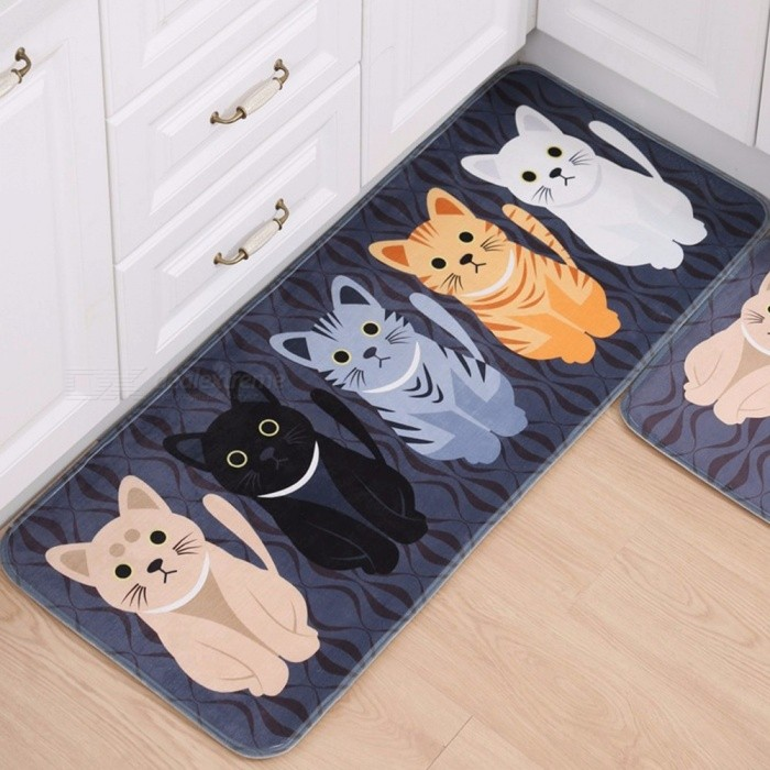 Cartoon Cat Printed Kitchen Carpet Floor Mat Living Room Rugs Anti-Slip Bedroom Bedside Rug Bathroom Foot Pad 50*120cm Dark Gray/500MMx1200MM