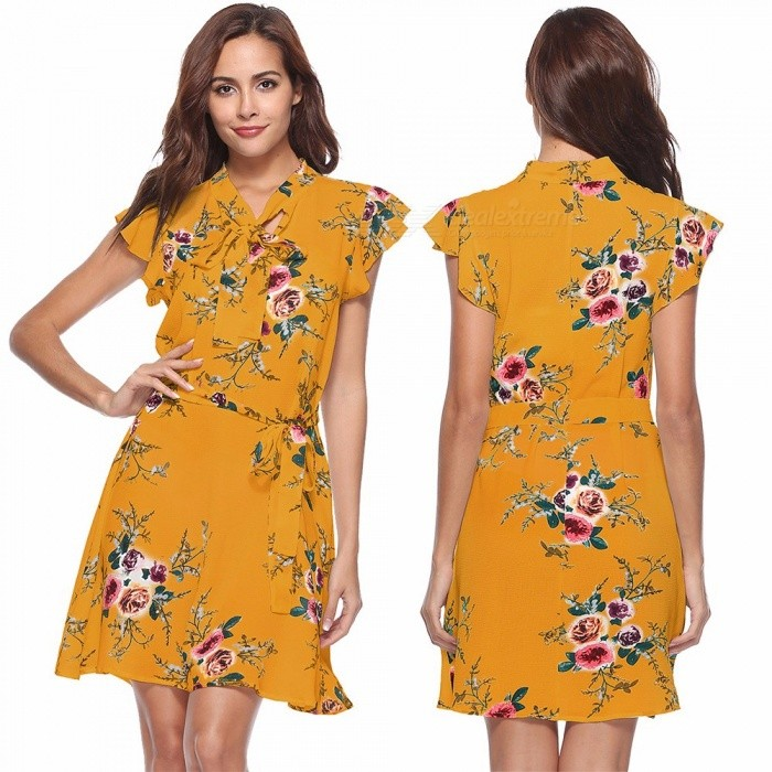 SJ0106 Womens V-neck Short Sleeve Floral Print Dress With Self-tie, Vintage Loose-fitting Belted Print Dress For Women Yellow/S