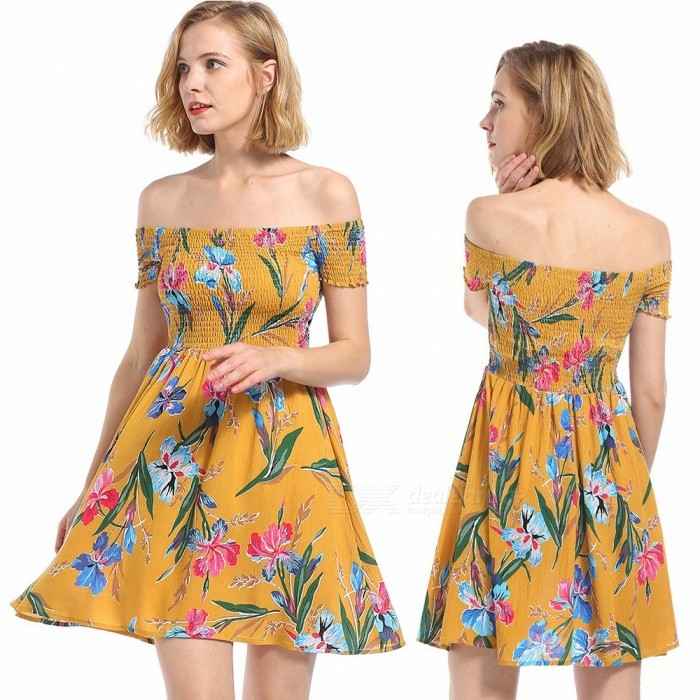 Europe And America Dress Summer Slash Neck Floral Print Slim Mini A-Line Dresses For Women Yellow/S