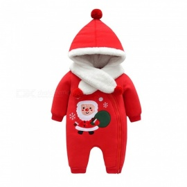 Tri-layer Cotton Hooded Jumpsuit For Baby, Embroidered Long Sleeve Baby Romper W/Neckerchief Red/9M