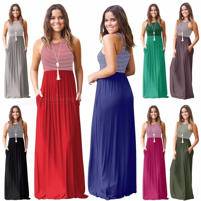 Summer Maxi Dress Spaghetti Strap Sleeveless Striped Slim Dresses For Women Green/S
