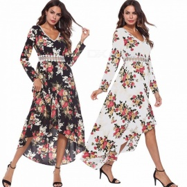 Europe And America Dress Long Sleeve V-Neck Floral Print Casual Asymmetrical Dresses For Women AM225 Black/S