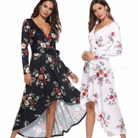 Europe And America Dress Long Sleeve V-Neck Floral Print Casual Asymmetrical Dresses For Women Navy Blue/S