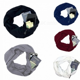 New Unisex Autumn Winter Scarves Solid Color Warm Windproof Scarf With Zipper Pocket Storage Bag White
