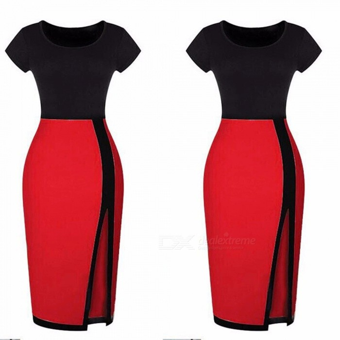 Europe And America Summer Dress Sexy Sheath Patchwork Office Lady Pencil Dresses For Women Red/S