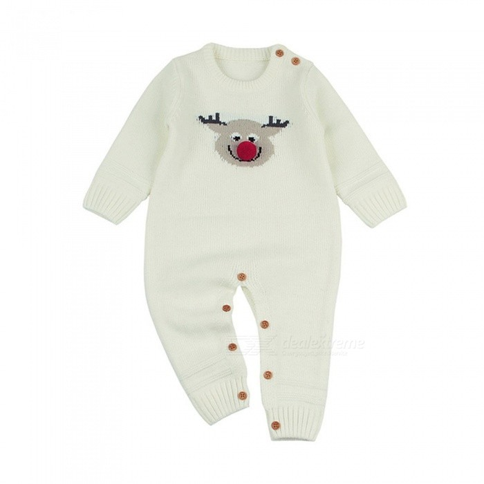 Unisex Round Neck Long Sleeve Elk Print Knit Baby Jumpsuit , Raised Cartoon Knitted Romper For Baby Gray/6M