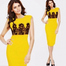 Europe And America Summer Dress Sleeveless Print O-Neck Yellow Pencil Dresses For Women Yellow/S