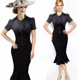 Europe And America Dress High Quality Turn-down Collar Elegant Vintage Button Mermaid Dresses For Women Black/S