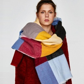 Multicolored Oversized Patchwork Scarf With Frayed Edges, Multifuntional Fashionable Winter Check Muffle Multi/One Size