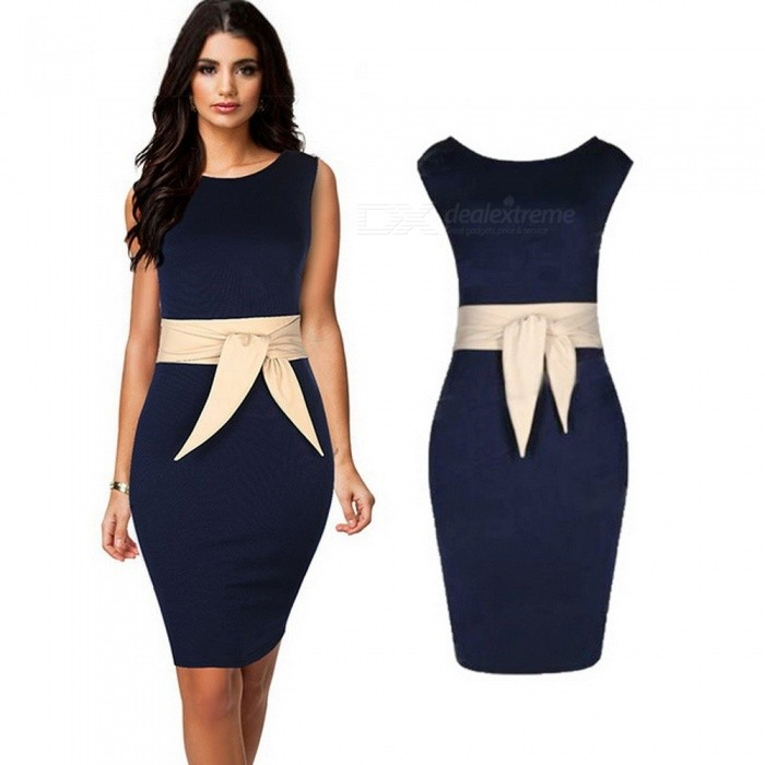 Europe And America Dress Summer O-Neck Sleeveless Bow Office Lady Pencil Dresses For Women Blue/S