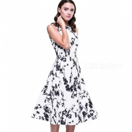 Summer Dress High Quality Retro Floral Print Sleeveless O-Neck Casual A-Line Dresses For Women Multi/S