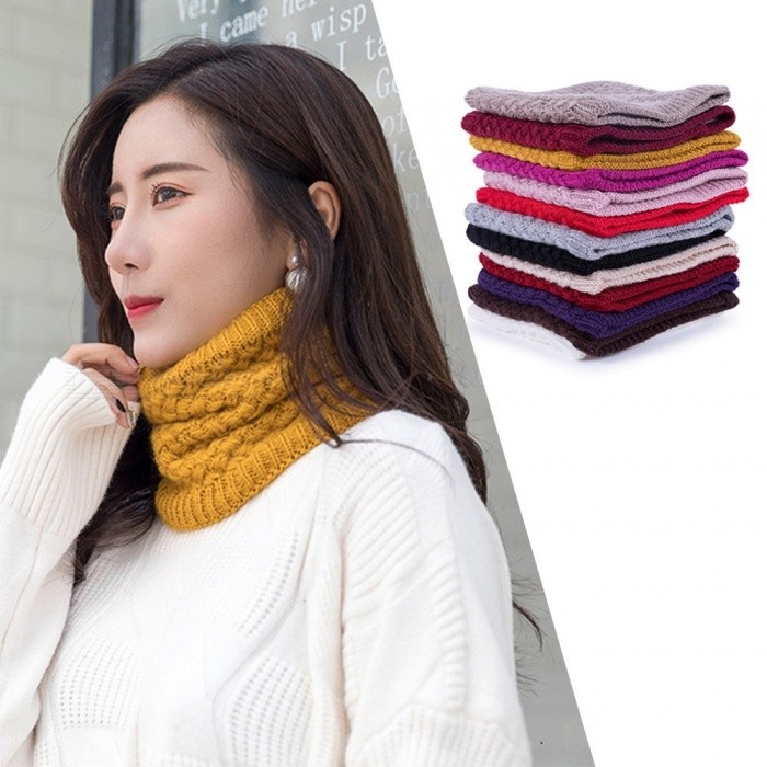 Womens Solid Knit Winter Neckerchief, Classic Ribbed Knitted Muffler For Women White/One Size