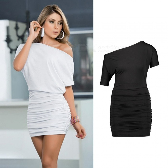 Europe And America Summer Dress Batwing Sleeve Sexy Slash Neck Draped Sheath Mini Dresses For Women Black/S
