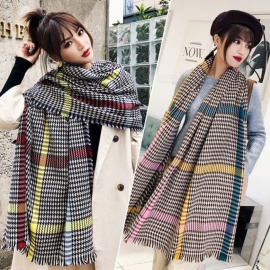 Classic-Long-Check-Scarf-With-Frayed-Edges-For-Men-And-Women-Unisex-Faux-Cashmere-Plaid-Muffler-White