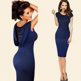 Europe And America New Dress O-Neck Lace Patchwork Large Size Pencil Dresses For Women Blue/S