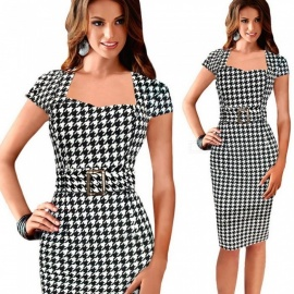 Europe And America Summer Dress Square Collar Plaid Print Slim Elegant Pencil Dresses For Women Black/S
