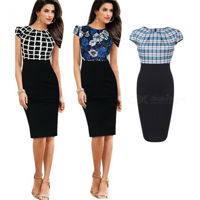 Europe And America Pencil Dress Summer Short Sleeve Print Patchwork Slim Dresses For Women Black/S