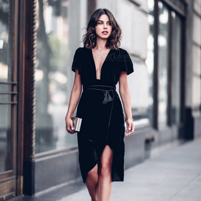 Europe And America Summer Dress Deep V-Neck Short Sleeve Velvet Slim Straight Dresses With Sashes For Women Black/S